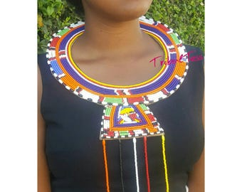Maasai collar necklace, wedding bead necklace, African beads jewelry, zulu beads necklace