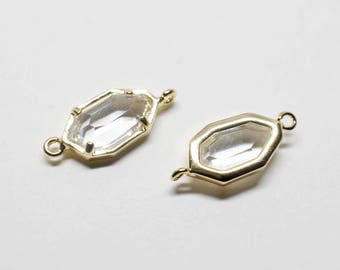 G0029/Crystal/Gold plated over brass/Unbalanced Octagon Glass Pendant Connector/6x15.5mm/2pcs