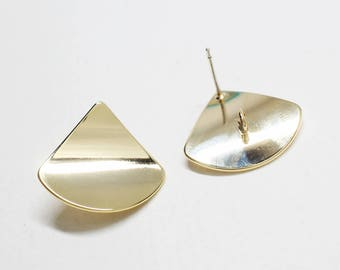 E0200/Anti-Tarnished  Gold Plating Over Brass/Large Curved Triangle Stud Earrings/20x18.5xmm/ 2pcs