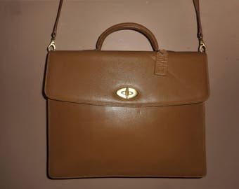 """VINTAGE COACH Tan Madison Drake Leather 14"""" X 11"""" X 2.5"""" Briefcase/Computer Bag ITALY"""