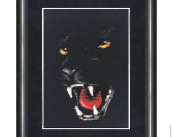 Cross Stitch Kit by Golden Fleece - Panther; Animal cross stitch; wild life embroidery; wild black cat