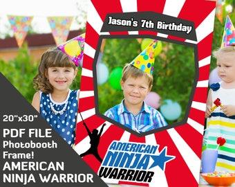 "american ninja warrior birthday decorations, photo booth frame 20""x30"" Custom printable PDF file american ninja party favors photobooth prop"
