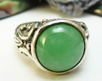 Aventurine Sterling Silver Ring Green Gemstone/Size 7