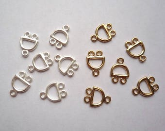 Small 2 strand end bars or multi-dangle jewelry component, 20 Gold or matte silver plated zinc alloy findings