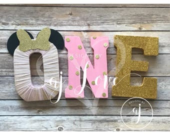 Minnie Gold and Pink First Birthday//ONE//Minnie Theme