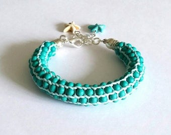 Pearl turquoise howlite, creating my little stationery Pearl braided bracelet braided bracelet