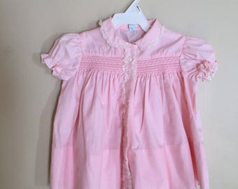 Vintage Baby Girls CHerubs Pink Dress sz 12 Months