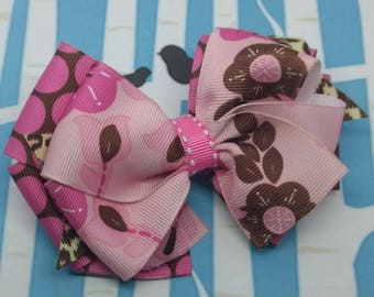 Hair Bow - Pink Polka Hair Bow - Pink and Brown Floral Hair Bow - Floral Hair Bow - Pink Chocolate Hair Bow - Cherry Blossom Bow - Set of 1