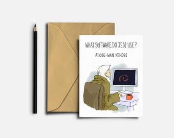 Obi Wan Kenobi, Star Wars Card, Star War Joke, Star Wars Greeting Card, Obi Wan Card