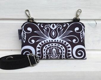 Fanny Pack Festival, Mini Waterproof Bag, Black White Mandala Bumbag, Boho Bag, Vegan Bag, Vegan Belly Bag, Waterproof Bag, Gift idea