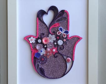 Stunning Quilled Hamsa with Fucsia Accents