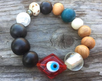 Vintage Wood Evil Eye Red Protection Bracelet Hand Carved Pyrite Gemstone Olivewood Bone Vintage Glass Yoga Karma Bracelet