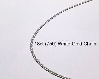 18ct 18K 750 Solid White Gold Square Curb Link Chain Necklace for Pendant Jewellery - PS33