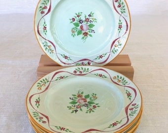 Adams China Co. of England, Calyx Ware, Ribbon Pattern, Hand-painted, 6 Luncheon/Salad Plates, Early 1900s, Old Mark