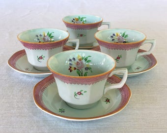 Adams China Co. of England, Calyx Ware, Lowestoft Pattern, Hand-painted, 4 Tea Cups with Saucers, Early 1900s, Old Mark