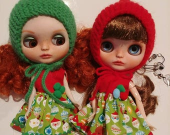 Dress for Blythe Christmas, option with hat or just dress.