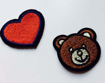 Patches | Patch | Set | Hipster | Trendy | Emo | DIY | Fashion | Sassy | Cute | Teddy Bear | Teddy | Bear | Smile | Smiley Face | Heart |
