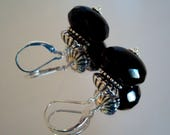 Faceted Black Onyx and Sterling Silver Beaded, Short Dangle Earrings