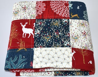 Woodland Crib Bedding, Baby girl bedding, Navy,red and gold, Golden forest bedding, deer, fawn, antlers, quilt, bumpers, skirt, sheet