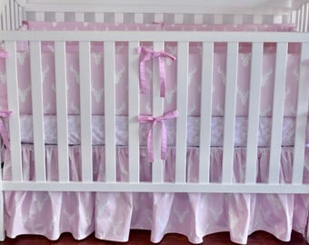 SHIPS TOMORROW! SALE -Bella pink crib bedding, pillow, bumpers, gathered skirt, fitted sheet, pink antlers, pink deer, woodland nursery