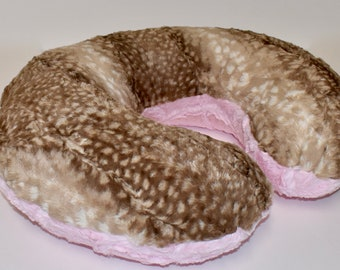 Fawn and lattice pink  Cover - deer hide, nursing pillow cover, woodland nursery, girl , pink , luxe minky