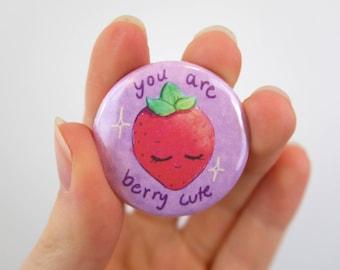 "BERRY CUTE Strawberry Pinback Button 1.5"" / 1.5 in."