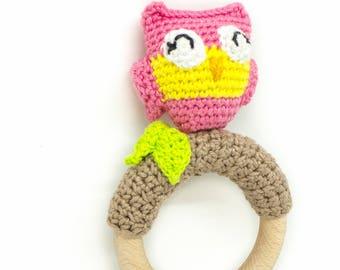 Hochet chouette / hochet fait main / hochet bébé / hochet crochet / cadeau de naissance / anneau de dentition, cadeau bebe