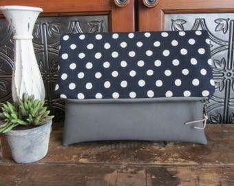 Large Fold Over Clutch Bag - Navy Dots with Gray Vegan Leather Bottom, Foldover Zipper Clutch, Navy Dots Clutch Bag
