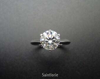 1 Carat Moissanite Engagement Ring With Diamond Halo