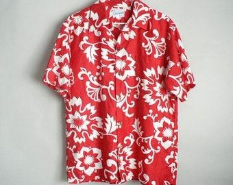 Mens Red White Floral Hawaiian Shirt