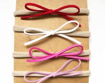 4 Petite Valintines Bows for Babies or Girls