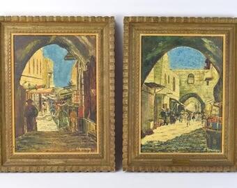 Pair Vintage Oil Paintings Old City Jerusalem Street Scenes Eisig Springer