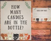 Printable Woodland Creatures Shower Guess How Many Candies are in the Bottle Game Instant Download