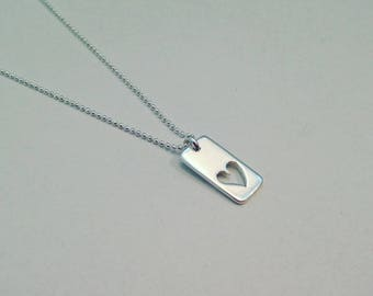Sterling Silver Cut Out Heart Charm Necklace