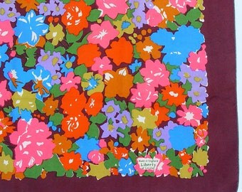 Vintage 1960s Liberty of London Floral Print Silk Scarf Made in England