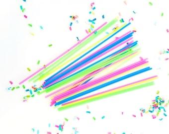 Neon drink stirrers (50). tropical straws. pineapple straws. flamingo decor. flamingo party supplies. neon stirrer. gold straws. luau party