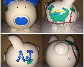 Boy's Dinosaur Theme Large Hand Painted Personalized Piggy Bank Green Trees Birthday Gift