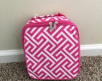 Monogrammed Greek Key Insulated  Lunchbox