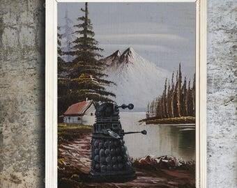 Dr Who, Tardis, Dalek and Weeping Angel Parody Art