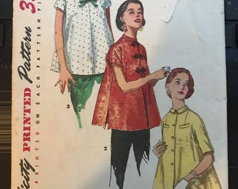 Vintage 50s Simplicity 1472 Maternity Top Pattern-Size 11 (29 Bust)