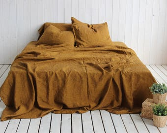 Organic Stone Washed Linen Super Soft Sheets Set Honey Brown Linen Completely Natural Bedding Twin XL CalKing Queen King AU US