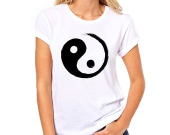 White Yin-Yang T-Shirt for Man and Woman