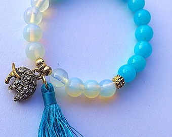 Moonstone and Dyed Jade Elephant Charm and Tassel Stretch Bracelet