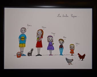 Customizable family frame perlinpinpot's and their pets