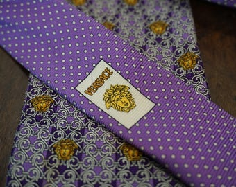 Vintage Purple Gianni Versace Medusa Tie/Made in Italy/ Haute Couture