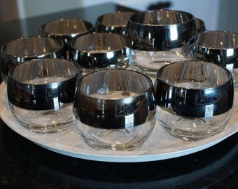 Set of 10 Vintage Dorothy Thorp Style Small Roly Poly Glasses/ Vinatge Barware/ Mad Men Style/ Cocktail Party Glasses/ Retro Barware