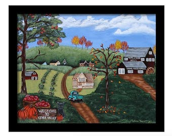 Folk Art Landscape Framed Print, 11x14, 16x20, Country Wall Art, Christmas Gift, Gifts For Mom, Folk Art, Gifts For Her
