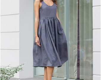 Gray linen dress, Midi linen dress, linen clothing, Linen dress