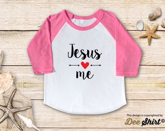 Jesus Loves Me; Christian Shirt; Cute Baptism Tee; Love Jesus T-Shirt; Sunday School Kids Church Outfit, Cool Christmas Holiday Gift Idea