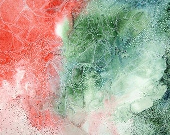 Original Watercolor - Crystalline flow structures (red-green)